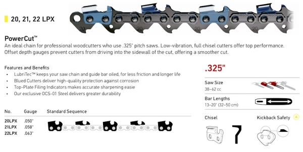 ".325"" Pitch - 20LPX, 21LPX, 22LPX PowerCut Chain"