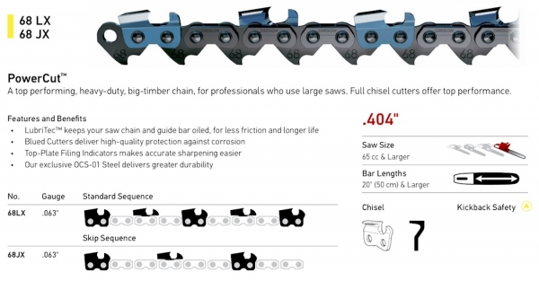 ".404"" Pitch - 68 LX Standard Sequence, 68 JX Skip Sequence PowerCut chain"