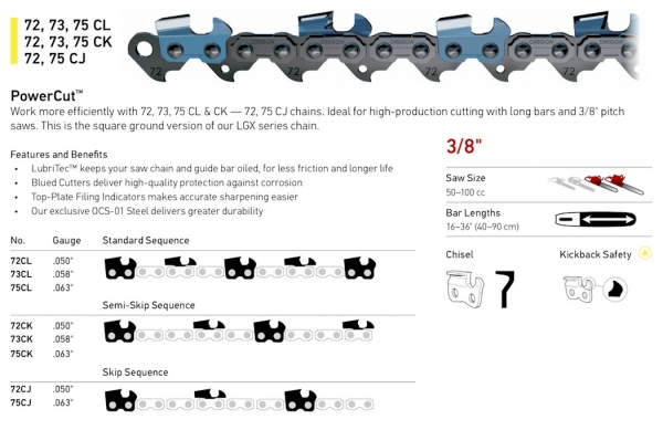 "3/8"" Pitch - 72, 73, 75 CL - CK - CJ PowerCut Chain"