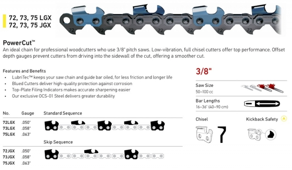 "3/8"" Pitch - 72, 73, 75 LGX - JGX PowerCut Chain"