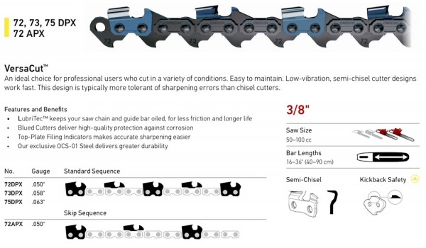 "3/8"" Pitch - 72, 73, 75 DPX 72 APX VersaCut Semi-Chisel Chain"