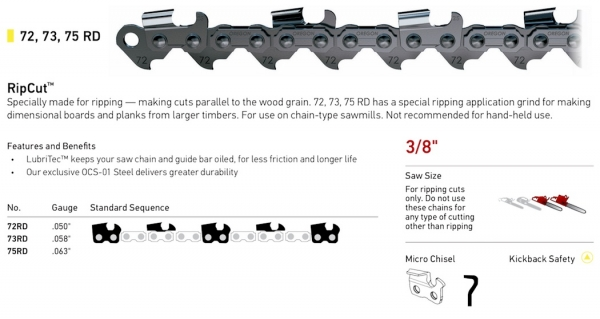 "3/8"" Pitch - 72, 73, 75 RD RipCut Ripping Chain"