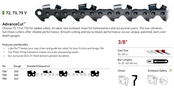 "3/8"" Pitch - 72, 73, 75 V AdvanceCut Low Kickback Chisel Chain"