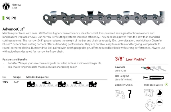 "3/8"" Pitch -90PX .043"" gauge AdvanceCut Narrow Kerf chain"