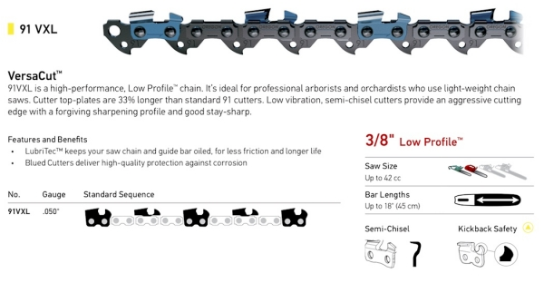 "3/8"" Pitch - 91VXL Low Profile VersaCut Semi-Chisel Chain"