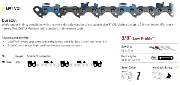 "3/8"" Pitch - M91VXL DuraCut Semi-Chisel Chain"